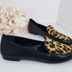 Black Leather & Leopard Bovine Hair Loafer 7.5